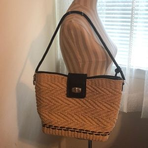 Brighton straw shoulder bag purse black leather